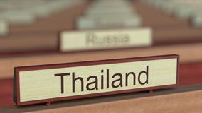 Το σήμα της Ταϊλάνδης μεταξύ των διαφορετικών πινακίδων χωρών στο διεθνή οργανισμό διανυσματική απεικόνιση