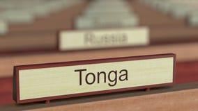 Το σήμα των Τόνγκα μεταξύ των διαφορετικών πινακίδων χωρών στο διεθνή οργανισμό διανυσματική απεικόνιση
