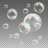 Το σαπούνι βράζει διάνυσμα Φυσαλίδες σαπουνιών αντανάκλασης ουράνιων τόξων Πλύσιμο Aqua απεικόνιση απεικόνιση αποθεμάτων