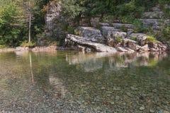 Το σαφές νερό του ποταμού Λ ` Ibie στην περιοχή Ardeche Στοκ εικόνες με δικαίωμα ελεύθερης χρήσης
