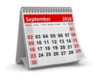 Το Σεπτέμβριο του 2018 - ημερολόγιο διανυσματική απεικόνιση