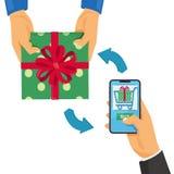 Το σε απευθείας σύνδεση ψωνίζοντας κινητό ψωνίζοντας άτομο έννοιας που κρατά το έξυπνο τηλέφωνο και αγοράζει ένα δώρο απεικόνιση αποθεμάτων