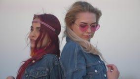Το σε αργή κίνηση πορτρέτο δύο νέων γυναικών που ντύνονται στα σακάκια τζιν στέκεται πίσω να υποστηρίξει με την τρίχα που κυματίζ απόθεμα βίντεο