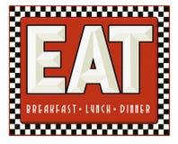 Το σημάδι γευματιζόντων αναδρομικό τρώει το γεύμα μεσημεριανού γεύματος προγευμάτων διανυσματική απεικόνιση