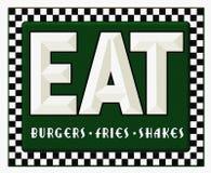 Το σημάδι γευματιζόντων αναδρομικό τρώει τα κουνήματα τηγανητών Burgers διανυσματική απεικόνιση