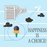 Το σημάδι κειμένων που παρουσιάζει ευτυχία είναι μια επιλογή Εννοιολογικός ευτυχής όλη την ώρα εύθυμος παραμονής φωτογραφιών που  ελεύθερη απεικόνιση δικαιώματος