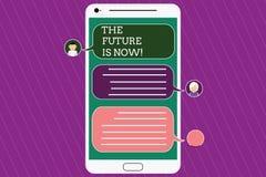 Το σημάδι κειμένων που παρουσιάζει το μέλλον είναι τώρα Εννοιολογικός νόμος φωτογραφιών για να λάβει σήμερα τι θέλετε αύριο να πρ διανυσματική απεικόνιση
