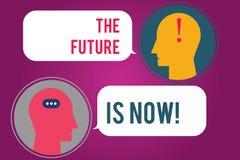 Το σημάδι κειμένων που παρουσιάζει το μέλλον είναι τώρα Εννοιολογικός νόμος φωτογραφιών για να λάβει σήμερα τι θέλετε αύριο το δω διανυσματική απεικόνιση