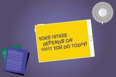 Το σημάδι κειμένων που παρουσιάζει μέλλον σας εξαρτάται από αυτό που σήμερα Η εννοιολογική φωτογραφία κάνει την ταμπλέτα σωστών ε διανυσματική απεικόνιση