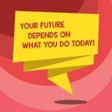 Το σημάδι κειμένων που παρουσιάζει μέλλον σας εξαρτάται από αυτό που σήμερα Η εννοιολογική φωτογραφία κάνει τις σωστές ενέργειες  διανυσματική απεικόνιση