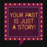 Το σημάδι κειμένων που παρουσιάζει παρελθόν σας είναι ακριβώς μια ιστορία Η εννοιολογική φωτογραφία δεν φροντίζει για τα πράγματα ελεύθερη απεικόνιση δικαιώματος