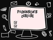 Το σημάδι κειμένων που παρουσιάζει Parkinson s είναι ασθένεια Εννοιολογική αναταραχή νευρικών συστημάτων φωτογραφιών που έχει επι ελεύθερη απεικόνιση δικαιώματος