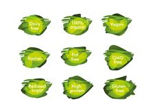 Το σημάδι 100% οργανικό, γαλακτοκομείο ελεύθερο, kosher, vegan, ΓΤΟ ελεύθερο, λίπος ελεύθερο, η ζάχαρη, υψηλή - πρωτεΐνη, γλουτέν ελεύθερη απεικόνιση δικαιώματος