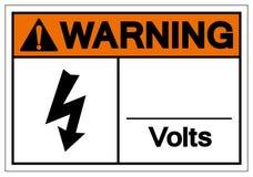 Το σημάδι συμβόλων βολτ προειδοποίησης, διανυσματική απεικόνιση, απομονώνει στην άσπρη ετικέτα υποβάθρου EPS10 απεικόνιση αποθεμάτων