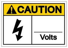 Το σημάδι συμβόλων βολτ προσοχής, διανυσματική απεικόνιση, απομονώνει στην άσπρη ετικέτα υποβάθρου EPS10 απεικόνιση αποθεμάτων