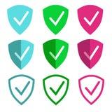Το σημάδι της ασπίδας συμβολίζει την προστασία για τα κινητούς apps και τον Ιστό ελεύθερη απεικόνιση δικαιώματος
