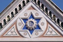 Το σημάδι ΤΟΥ, Basilica Di Santa Croce - διάσημη φραντσησθανή εκκλησία στη Φλωρεντία Στοκ Εικόνες