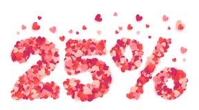 το σημάδι έκπτωσης ημέρας 25 βαλεντίνων τοις εκατό έκανε από το ρόδινο και κόκκινο κομφετί μορφής καρδιών Στοκ Εικόνα