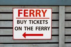 Το σημάδι για αγοράζει τα εισιτήρια στο πορθμείο Στοκ Εικόνα