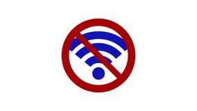 Το σημάδι ` κανένα wifi ` Απαγόρευση της χρησιμοποίησης του Διαδικτύου διανυσματική απεικόνιση