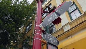 Το σημάδι οδών του Βανκούβερ Chinatown μετακινείται τον πυροβολισμό φιλμ μικρού μήκους