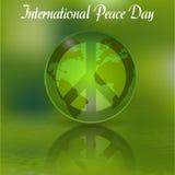 Το σημάδι της ημέρας της ειρήνης για την ημέρα ειρήνης πράσινος κόσμος απεικόνιση Στοκ φωτογραφία με δικαίωμα ελεύθερης χρήσης