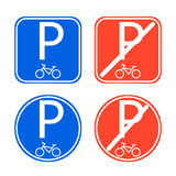 Το σημάδι χώρων στάθμευσης ποδηλάτων επέτρεψε και απαγόρευσε το διάνυσμα Στοκ φωτογραφίες με δικαίωμα ελεύθερης χρήσης