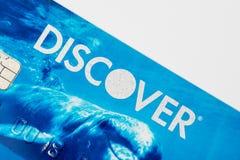 Το Σικάγο, IL, ΗΠΑ, FEB-12.2017, κλείνει επάνω μιας Discover πιστωτικής κάρτας για την εκδοτική χρήση μόνο στοκ φωτογραφία
