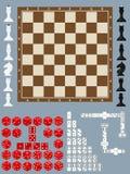 Το σκάκι, ντόμινο, χωρίζει σε τετράγωνα παιχνίδι απεικόνιση αποθεμάτων