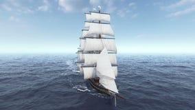 Το σκάφος που πλέει κατά την εναέρια άποψη τραχιών θαλασσών και κλείνει επάνω