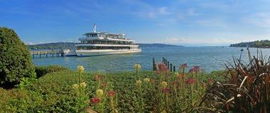 Το σκάφος της γραμμής επιβατών, λίμνη starnberger βλέπει, Βαυαρία Στοκ Εικόνες