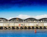 Το σκάφος του Τρόντχαιμ ελλιμενίζει το υπόβαθρο αποβαθρών Στοκ φωτογραφία με δικαίωμα ελεύθερης χρήσης