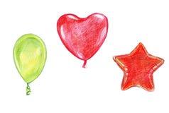 Το σκίτσο απεικόνισης χρωμάτισε το μπαλόνι μολυβιών watercolor με μια κορδέλλα των διάφορων μορφών και των κόκκινων χρωμάτων Στοκ φωτογραφίες με δικαίωμα ελεύθερης χρήσης