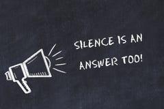 Το σκίτσο πινάκων κιμωλίας με το μεγάφωνο και την κινητήρια σιωπή φράσης είναι μια απάντηση επίσης διανυσματική απεικόνιση