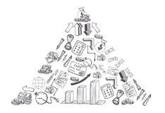 Το σκίτσο συρμένης της χέρι επιχείρησης και τα οικονομικά doodles διαμόρφωσαν το τρίγωνο που απομονώθηκε στο άσπρο υπόβαθρο ελεύθερη απεικόνιση δικαιώματος