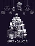 Το σκίτσο του νέου έτους παρουσιάζει και δώρα στη μορφή του χριστουγεννιάτικου δέντρου Διανυσματικό χέρι που σύρεται doodle για τ ελεύθερη απεικόνιση δικαιώματος