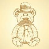 Το σκίτσο Teddy αντέχει στο καπέλο και δένει με το mustache, διάνυσμα backgroun ελεύθερη απεικόνιση δικαιώματος