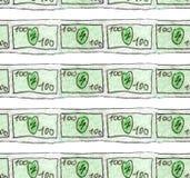 Το σκίτσο Watercolor ενός τραπεζογραμματίου 100 δολαρίων είναι λεπτές γραμμές Άνευ ραφής σχέδιο για την επεξήγηση της χρηματοδότη διανυσματική απεικόνιση