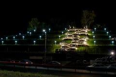 Το σκαλοπάτι νύχτας ανάβει τους ανθρώπους Στοκ φωτογραφίες με δικαίωμα ελεύθερης χρήσης