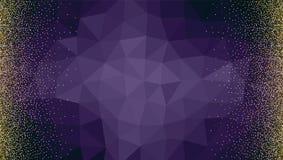 Το σκηνικό από τα τρίγωνα με χρυσό, λαμπρός, ακτινοβολεί αφηρημένο μεταλλικό σχέδιο σκόνης Οριζόντιο πλαίσιο εικόνων Πρότυπο ελεύθερη απεικόνιση δικαιώματος