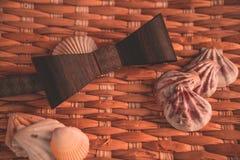Το σκοτεινό καφετί bowtie στο υπόβαθρο με στοκ φωτογραφίες
