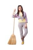 Το σκουπίζοντας πάτωμα γυναικών που απομονώνεται στο λευκό Στοκ εικόνες με δικαίωμα ελεύθερης χρήσης