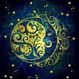 Το σκούρο μπλε φεγγάρι νύχτας, αφαιρεί το shabby χρωματισμένο υπόβαθρο Στοκ εικόνα με δικαίωμα ελεύθερης χρήσης