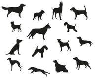 Το σκυλί αναπαράγει τις μαύρες σκιαγραφίες διανυσματική απεικόνιση