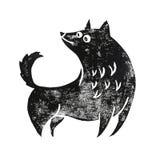 Το σκυλί Linocut ξανακοιτάζει Στοκ Φωτογραφία