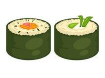 Το σούσι κυλά τα διανυσματικά επίπεδα εικονίδια για τις ιαπωνικές επιλογές εστιατορίων κουζίνας διανυσματική απεικόνιση