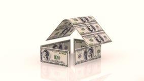 Το σπίτι αποτελείται από τους λογαριασμούς μετρητών, η έννοια της επένδυσης στην κατασκευή, δαπάνες χρημάτων για την κατασκευή ελεύθερη απεικόνιση δικαιώματος
