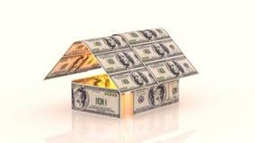 Το σπίτι αποτελείται από τους λογαριασμούς μετρητών, η έννοια της επένδυσης στην κατασκευή, δαπάνες χρημάτων για την κατασκευή, c ελεύθερη απεικόνιση δικαιώματος