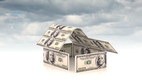 Το σπίτι αποτελείται από τους λογαριασμούς μετρητών, η έννοια της επένδυσης στην κατασκευή, δαπάνες χρημάτων για την κατασκευή, c απόθεμα βίντεο