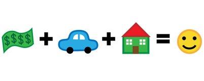 Το σπίτι αυτοκινήτων χρημάτων είναι ίσο με την ευτυχία Στοκ Εικόνες